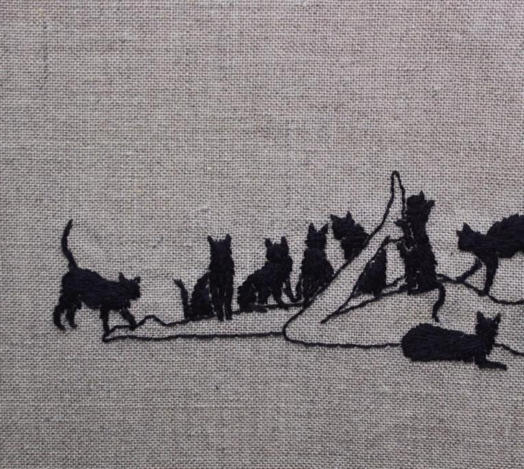 adipocere, hand embroidery on natural linen